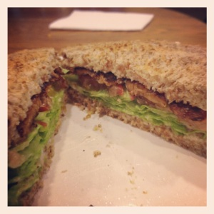 TLTs tempeh lettuce and tomato on Ezekiel bread
