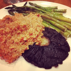 portabella caps with quinoa and asparagus